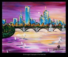 Glowing Boston Sunset Painting - Jackie Schon, The Paint Bar sunset paint, paint bar