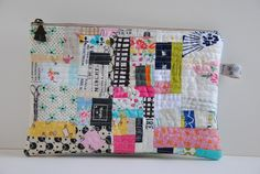 Scrappy Patchwork Zippered Pouch by Chase sew, purs, bag, zipper pouch, scrappi patchwork, chase, patchwork zipper, inch mark, patch quilt
