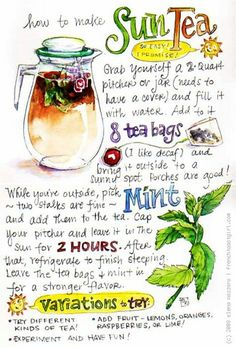 Sun tea recipe.  teawick.com   @Teawick  #teawick  If you chop mint leaves up they diffuse into the water more quickly.  Just strain tea with a cheesecloth afterwards if you don't want the mint floating around in your tea.
