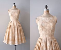 1950s dress / crochet 50s dress /