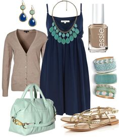 casual summer, color combos, blue, forever 21 navy dress, the dress