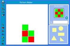 Use shapes to make patterns. Ask pupils to make a pattern using, eg, just triangles. What did they do to make their pattern? Are all their triangles the same size? Can they make a pattern with bigger and smaller triangles