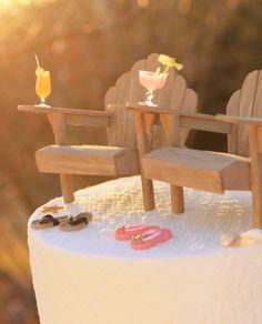 2014 wood chair beach wedding cake topper, DIY beach wedding cake topper.