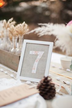 burlap and fabric table number
