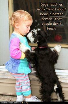 kiss, little girls, dog teach, anim, dogs, pet, schnauzer, puppi, friend