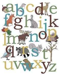 Alphabet Art Poster Woodland Animals