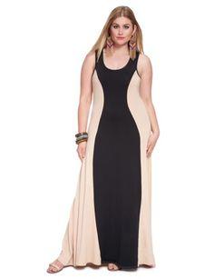 Colorblock Maxi Dress Black & Nude