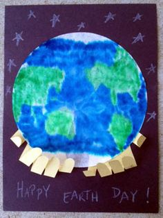A super cute Earth Day Craft using coffee filters and markers for the Kids - Teach them that the World is in Your Hands!