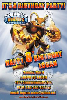 SKYLANDERS GIANTS 4X6 INVITATIONS WITH ENVELOPES