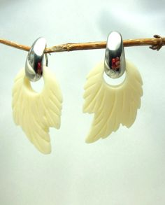 Vintage Earrings Large White Leaf Dangles by VJSEJewelsofhope, $12.00