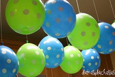 a few of my favorite things party for a teenager..cute idea polka dots, parties, churches, favorit thing, thing parti, lime, balloons, balloon canopi, canopies