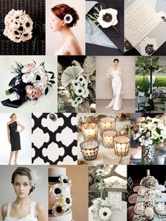 Anemone's Anyone? Stunning black and white wedding decor, candles, centerpieces, hair piece, little black dress, flowers