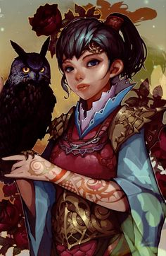 girl and owl by LeeMyung Un