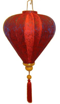 Vietnamese Diamond Shaped Purple Red Silk Lantern  Bamboo Frame  Height (include hook and tassels): 30 Inches  Height (exclude hook and tassels): 14 Inches  Maximum Diameter: 14 Inches  Bulb (Type B) is not included