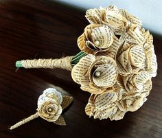 Neat idea. Book Page Bouquet - Book Page Boutonniere -Book Page Flowers -Vintage Paper Flowers -Paper Roses -18 Paper Stem Roses -Eco Wedding. $104.00, via Etsy.