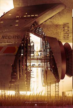 Promotional Poster of the Enterprise under construction for 2009's Star Trek.