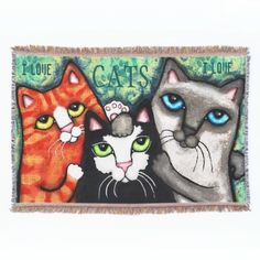 #CatLovers #Kitty #ThrowBlanket #cats #catArt #catGifts #catblanket