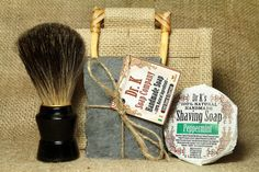 Men's Gift Set - Gifts for Men - Grooming Set For Him, Natural Soap, Shaving Soap and Badger Shaving Brush in gift bag.