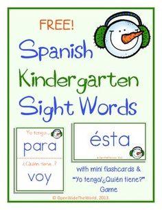 Spanish Dual Language Kindergarten Sight Word FREEBIE!