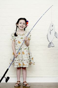 30 s style girls dress with fish print by Little Duckling