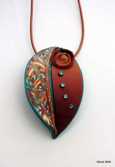 bonfir, color combos, ghost shift, polym clay, leaf pendant