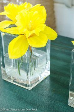 spring mantel, flower inspir, flower arrang, craft flowers, daffodil, color