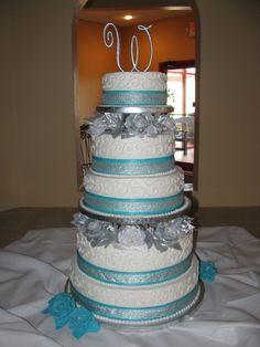 Malibu Blue AND silver Wedding Decorations   ... Blue and Silver Wedding Cake By MindyF silver blue wedding cake