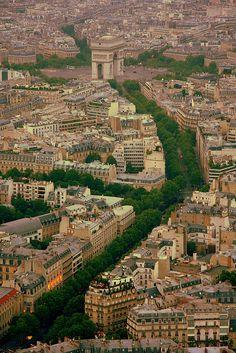 Arc de Triomphe from Eiffel Tower, Paris
