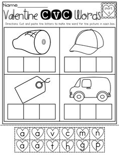 CVC Words!  Look at the picture, cut and paste the CVC letters to make a word!