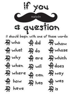 """FREE """"I mustache you a question"""" activity packet."""