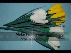 Tulips - How to make paper crepe flower   crocus  Spring flowers  DIY