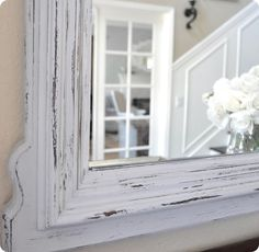 Annie Sloan's Chalk Paint. (FYI:  This paint is pretty pricey.) --  Some good tips & info regarding AS CP in the comments section at centsationalgirl.com annie sloan mirror, craft, color, antique mirrors, chalkboard paint, painted mirrors, paints, chalk paint mirror, diy