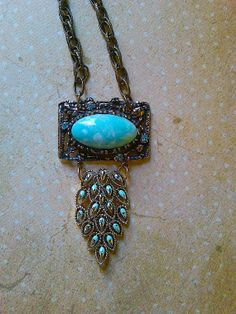 Turquoise repurposed brooch necklace by JNPVintageJewelry on Etsy, $125.00