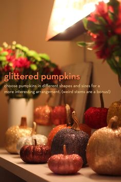 glam up your living space: glittered pumpkins! #partycrafters