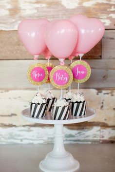 Heart balloon cupcake toppers