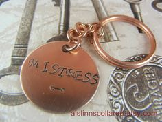 Mistress Handstamped Copper Keychain by aislinnscollared on Etsy, $4.00