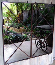 Double cross outdoor mirror | Garden mirror