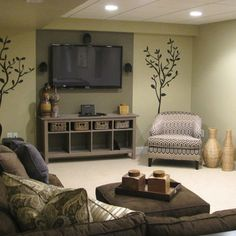 Basement Family Room Design, Pictures, Remodel, Decor and Ideas - page 6 ( I like the tv center...paint wall and cabinet same color.)