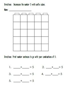 Decomposing Numbers to 10 With Unifix Cubes