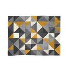 Henrik Hand Tufted Wool Rug 120 x 180cm, Mustard and Grey | made.com