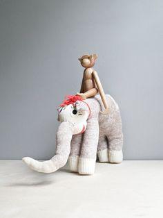 .vintage handmade sock elephant.