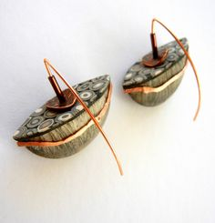 """Terre Inconnue"" - polymer clay earrings by Sonya Girodon."
