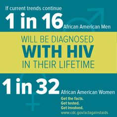1 in 16 black men & 1 in 32 Black women will be diagnosed with #HIV. Protect your health. Take action. Get tested. http://hivtest.cdc.gov/ #NBHAAD