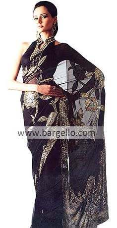Black sari with embroidery