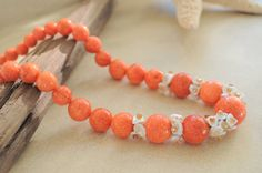 Sponge Coral Keshi Pearl and Spessartine Garnet by kimberlylauren, $50.00 #orange #boho #necklace