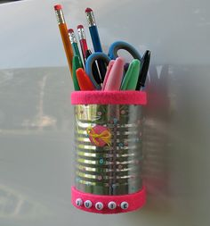 Decorate a tin can and glue some magnets to back to hold pens, etc. on fridge or in locker. locker decor, diy crafts, locker crafts, locker pencil, locker magnets diy, diy back to school locker, pencil holders