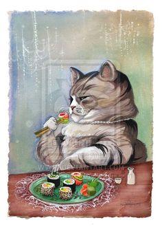 Sushi Cat Fancy Feast 8x10 Print by BluebirdieBootique on Etsy, $20.00