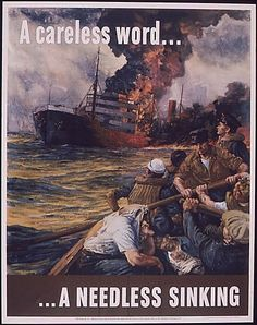 needless sink, careless word, wwii poster, ship, public libraries