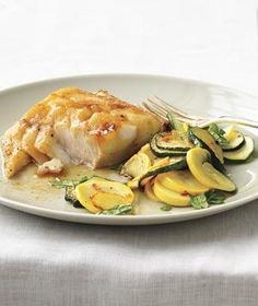 Soy-Glazed Fish With Sauteed Summer Squash recipe