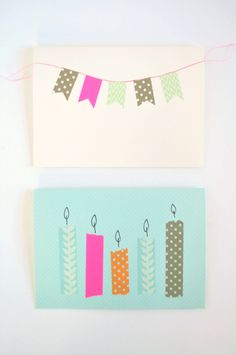make your own birthday cards and party invites with washi tape. Great way to decorate envelopes for any occasion.